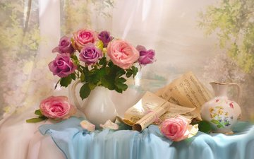 flowers, roses, notes, fabric, leaves, pitcher, still life, valentina fencing