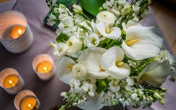 flowers, candles, table, bouquet, white, calla lilies, wedding bouquet, gillyflower