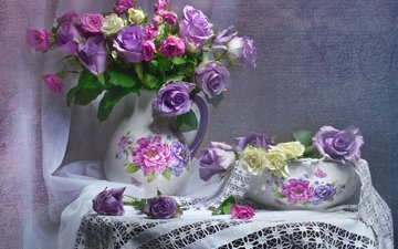flowers, roses, bouquet, vase, pitcher, table, still life, tablecloth, curtain, valentina fencing