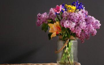 цветы, ветки, тюльпаны, ваза, сирень, банка, ирисы