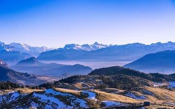 trees, mountains, snow