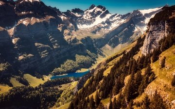 trees, lake, mountains, rocks, the sun, the view from the top, switzerland, height, gorge