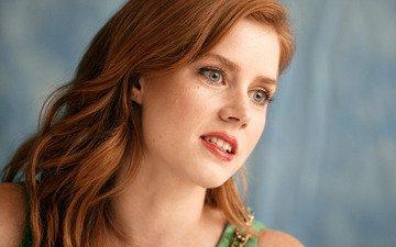 девушка, портрет, взгляд, волосы, губы, лицо, актриса, рыжеволосая, голубоглазая, эми адамс