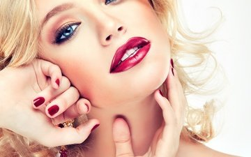 girl, blonde, smile, portrait, look, model, lips, hands, blue eyes, makeup, hairstyle, photoshoot, gesture, manicure