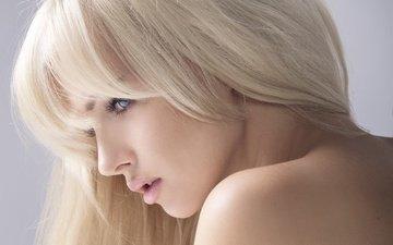 девушка, блондинка, портрет, взгляд, профиль, волосы, губы, лицо, голое плечо
