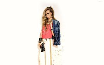 стиль, девушка, блондинка, взгляд, модель, актриса, белый фон, знаменитость, кара делевинь, джинсовка