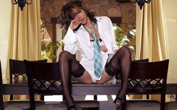 girl, brunette, model, stockings, shirt, tie, malena morgan