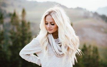 девушка, блондинка, волосы, лицо, ресницы, закрытые глаза
