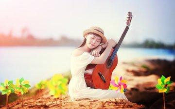 девушка, платье, гитара, музыка, лицо, шляпа, закрытые глаза