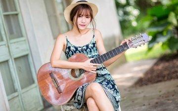 девушка, платье, гитара, взгляд, волосы, лицо, шляпа, азиатка, боке