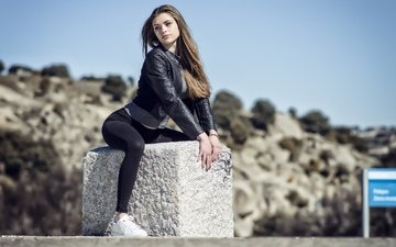 девушка, взгляд, модель, волосы, лицо, кожаная куртка, aily