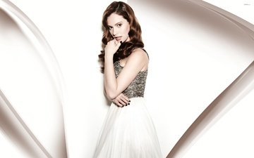 girl, dress, pose, look, hair, face, lily james