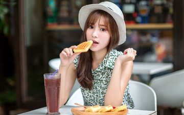girl, dress, look, hair, face, cocktail, hat, asian, cookies