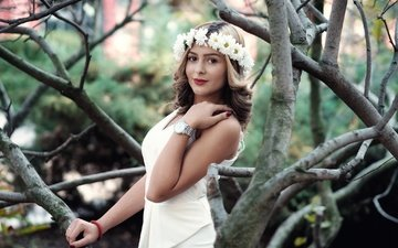 tree, girl, dress, look, model, hair, face, wreath, alex