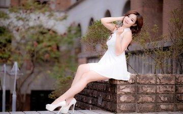 девушка, платье, улыбка, взгляд, ножки, волосы, лицо, азиатка, высокие каблуки
