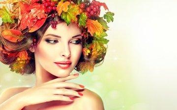 девушка, портрет, брюнетка, взгляд, модель, волосы, лицо, макияж, венок, калина, осенние листья