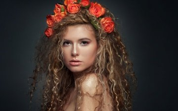 girl, portrait, roses, look, model, curls, lips, hairstyle, wreath