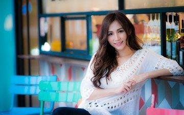 девушка, улыбка, взгляд, волосы, лицо, азиатка