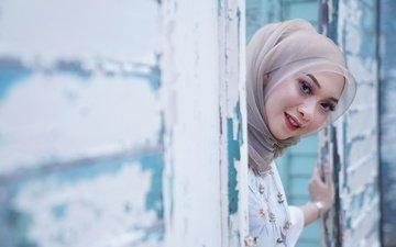 girl, smile, look, model, face, makeup, asian, shawl, bokeh