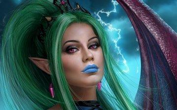 арт, девушка, взгляд, лицо, уши, вампир, эльфийка, суккуб, диадема, эвелина
