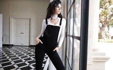 girl, look, model, profile, jacket, window, jumpsuit, kendall jenner