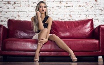 girl, look, model, legs, hair, face, makeup, sofa, merche martinez