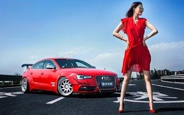 girl, pose, look, glasses, legs, asian, red dress, audi