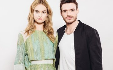 girl, look, hair, pair, face, male, actors, lily james, richard madden