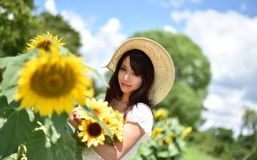 the sky, flowers, clouds, girl, smile, look, hair, face, sunflowers, hat, asian, bokeh