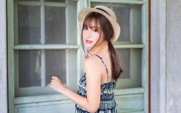 girl, look, face, hat, asian, sundress