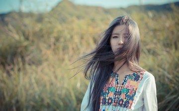 girl, look, hair, face, the wind, asian, bokeh