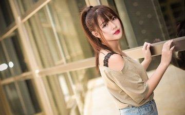 girl, look, model, hair, lips, face, asian