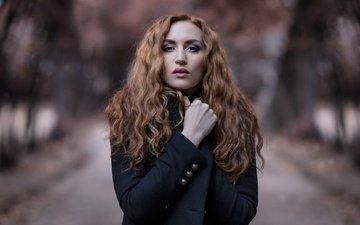 girl, look, model, hair, face, curls, coat, nicole