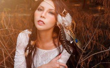 девушка, портрет, взгляд, модель, волосы, губы, лицо, перья