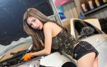 girl, look, ass, hair, repair, car, asian, denim shorts