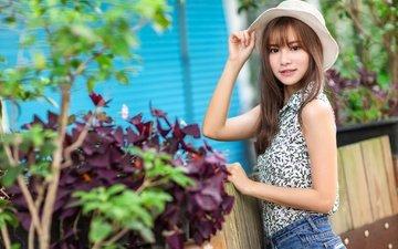 plants, girl, look, hair, face, hat, asian
