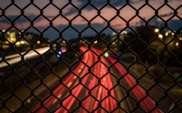 дорога, город, забор, сетка