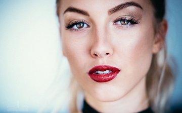девушка, фон, блондинка, портрет, взгляд, модель, лицо, макияж, красные губы