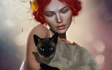 girl, background, cat, look, graphics, hair, face, 3d, siamese cat