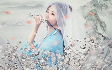 flowering, girl, background, branches, look, model, hair, face, asian