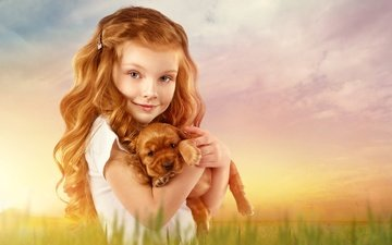 background, look, dog, red, girl, puppy, hair, face, child
