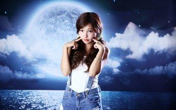 девушка, фон, взгляд, луна, модель, океан, волосы, азиатка, манипуляции