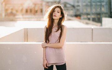girl, background, look, model, hair, face, figure