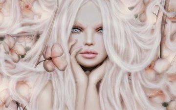 flowers, art, girl, background, look, hair, face, long hair