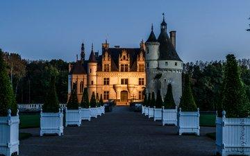 деревья, вечер, дизайн, замок, сад, франция, газон, замок шенонсо, chateau de chenonceau