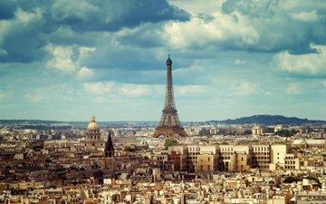 небо, облака, город, париж, франция, эйфелева башня