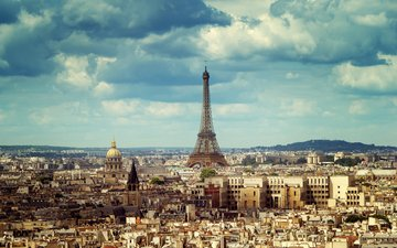the sky, clouds, the city, paris, france, eiffel tower