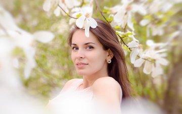 глаза, дерево, цветение, девушка, портрет, ветки, взгляд, весна, волосы, лицо
