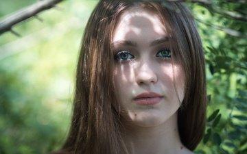 глаза, листья, девушка, портрет, взгляд, волосы, губы, лицо, милашка