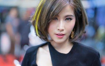 глаза, девушка, портрет, взгляд, волосы, губы, лицо, азиатка